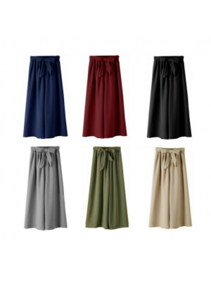 Women Casual Simple Bowknot Loose Wide Leg Vintage Elastic Waist Long Pants